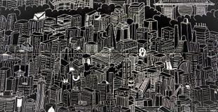 Painel monocromático com uma imagem gráfica do Tóquio moderno Fotos de Stock Royalty Free