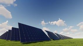 Painel solar no lapso de tempo verde do campo ilustração stock
