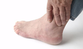 Painful ankle royalty free stock photo