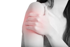 Painful arm in a woman isolated on white background. Clipping path on white background. Painful arm in a woman isolated on white background. Clipping path on stock photos
