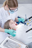 Painful dental procedure coming to an end Royalty Free Stock Photography