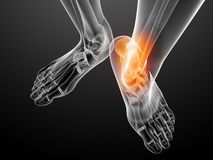 Painful foot illustration. 3d rendered illustration of a transparency human foot with highlighted ankle Royalty Free Stock Photography
