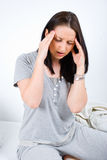 Painful head ache woman Royalty Free Stock Images
