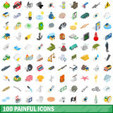 100 painful icons set, isometric 3d style Royalty Free Stock Photography