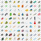 100 painful icons set, isometric 3d style Stock Image