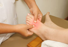 The painful or injury toe and foot Royalty Free Stock Photo