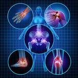 Painful Joints. Human anatomy concept with the body as a group of circular panels of sore areas as a pain and injury or arthritis illness symbol for health care Royalty Free Stock Image