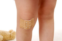 Painful knee. A children knee with plaster Stock Image