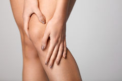 Painful Knee. Closeup Of Woman Feeling Pain In Knees. Royalty Free Stock Images