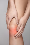 Painful Knee. Closeup Of Woman Feeling Pain In Knees. Stock Images