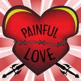 Painful love. Abstract colorful illustration with red heart tied with barbed wire and stabbed by two swords. Painful love concept Royalty Free Stock Photography