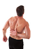 Painful Man Holding His Back Isolated Stock Photo