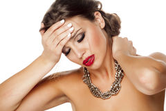 Painful neck and headache stock photography