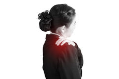 Painful shoulder in a businesswoman isolated on white background. Clipping path on white background. Painful shoulder in a businesswoman isolated on white royalty free stock photography
