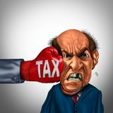 Painful Tax Concept. Painful tax and financial blow concept as a fist punching a taxpayer or businessman as an economic symbol for taxation stress with 3D Royalty Free Stock Photos