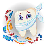 Painful tooth and sweets. On white Royalty Free Stock Photography