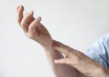 Painful wrist stock photos