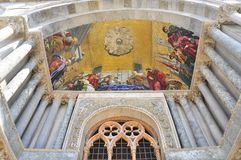 Paining at the entrance of San Marco, Venezia. Mosaic at the entrance of San Marcon Church, Basilica in Venezia, Italy Stock Photography
