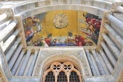 Paining at the entrance of San Marco, Venezia. Mosaic at the entrance of San Marcon Church, Basilica in Venezia, Italy stock photography