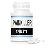 Painkiller concept. Illustration depicting a single medication container with the words 'painkiller tablets' on the front with white background and a few Royalty Free Stock Image