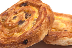Pains aux raisins. Isolated image of two Pains aux raisins Royalty Free Stock Images