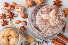 Pains d'épice de Nuremberg avec des amandes d'écrous, des noisettes, des noix en chocolat et le lustre de sucre images libres de droits