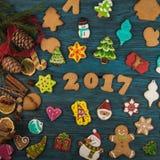 Pains d'épice pendant de nouvelles 2017 années Image stock