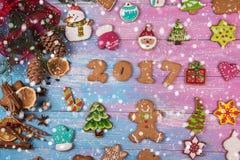 Pains d'épice pendant de nouvelles 2017 années Photo stock