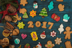 Pains d'épice pendant de nouvelles 2017 années Photographie stock