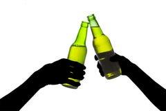 Pains grillés de bière. d'isolement sur le blanc Photographie stock libre de droits