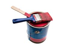 Paint. Isolated paint can and brush Stock Photo