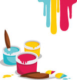 Paint. Cans and  brushes on a white ground Stock Images