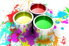 The paint. Banks with a paint of different colours are collected together Stock Image