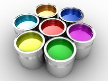 The paint. Banks with a paint of different colours are collected together Stock Photo