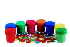 Paint. The containers paint on white background, a lot of colours Stock Photography