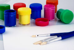 Paint. The containers paint on white background, a lot of colours Stock Image