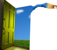 Paint it. Door opening to  blue sky, with paint brush Stock Images