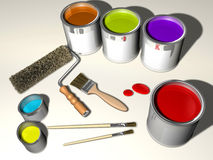 Paint. Cans, brushes and roller - 3d render Royalty Free Stock Photo