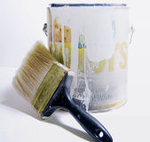 Paint. Can and brush Stock Photography