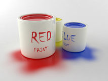 Paint. Three cans with paint. Red, blue and yellow Royalty Free Stock Image