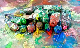Paint. Lots of old paint tubes royalty free stock images
