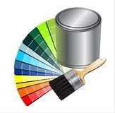 Paint. Pain can with brush vector illustration Royalty Free Stock Images