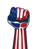 Paint American national flag on a fist and arm. This illustration is concept about independence and vote and revolution and sports fan of American Stock Image