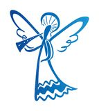 Paint Angel is sounding. Simple  illustration of a free hand line Royalty Free Stock Photography