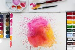 Paint for artistic drawing watercolor is the best paint. royalty free stock image