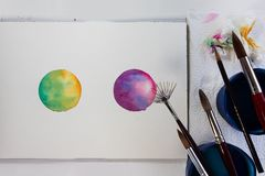 Paint for artistic drawing watercolor is the best paint. royalty free stock photo