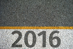 2016 paint on the asphalt road Royalty Free Stock Photos