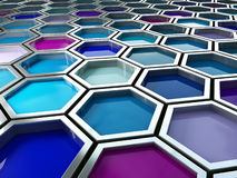 Paint background. Fine image 3d of blue tone hexagon background Stock Photos