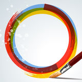 Paint background. A paint background with a paintbrush and colorful circle vector illustration