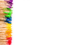 Paint background. Paint rainbow on brush background royalty free stock photography